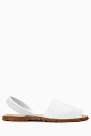 White Leather Regular/Wide Fit Beach Sandals
