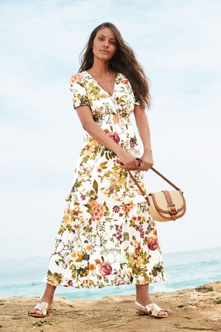White Floral Shirred Maxi Dress