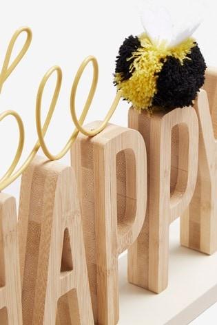 Bee Happy Word Block
