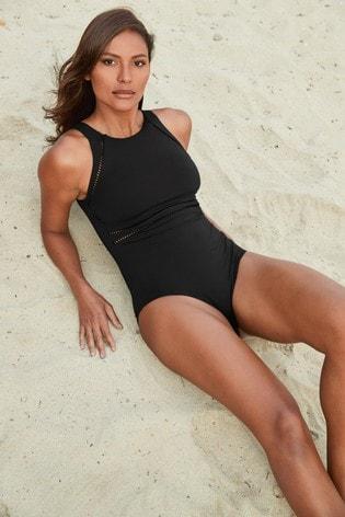 Black Rik Rak Sports Swimsuit
