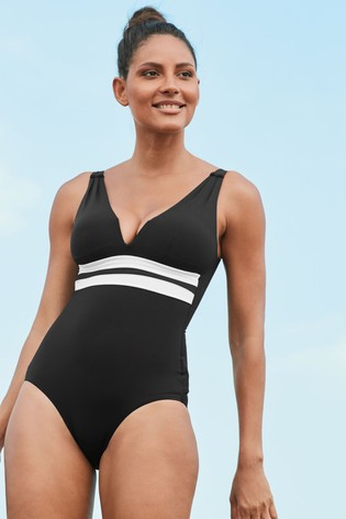 Monochrome Plunge Shape Enhancing Swimsuit