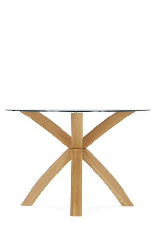 Oak Glass Round Dining Table