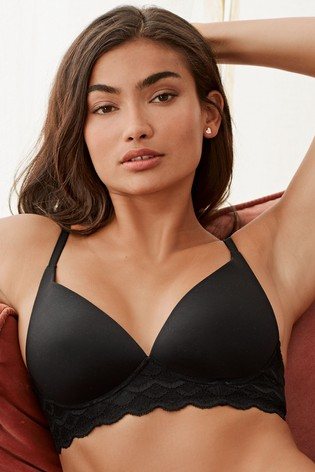 Black Forever Comfort Daisy Supersoft Non Wired Lightly Padded Lounge Bra