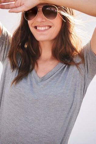 Grey Metallic V-Neck Half Sleeve T-Shirt