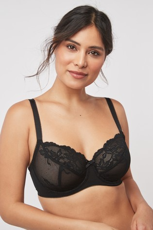 Black/White Lizzie DD+ Non Padded Lace Balcony Bras Two Pack