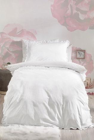 Rose Ruffle Duvet Cover and Pillowcase Set
