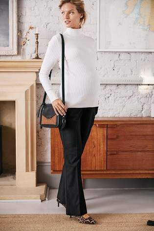 Black Maternity Over The Bump Boot Cut Trousers
