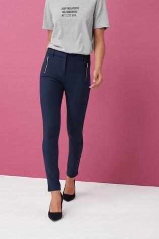 Navy Skinny Zip Trousers