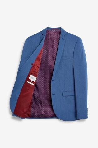 Blue Slim Fit Stretch Tonic Suit: Jacket