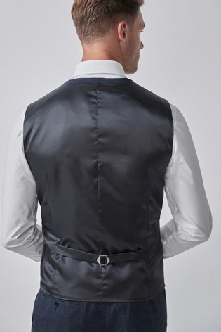 Mid Blue Check Suit: Waistcoat