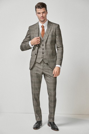 Taupe/Brown Skinny Fit Check Suit: Jacket