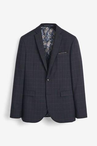 Navy Slim Fit Empire Mills Signature Check Suit: Jacket