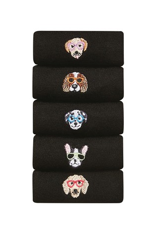 Black Dog Motif Ankle Socks Five Pack
