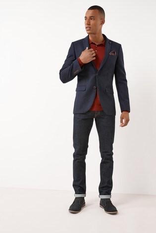 Navy Nova Fides Signature Hopsack Slim Fit Blazer