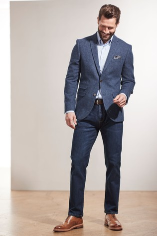 Bright Blue Slim Fit Nova Fides Signature Herringbone Blazer