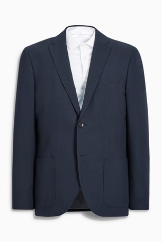 Navy Signature Italian Cotton Tailored Fit Subalpino Blazer