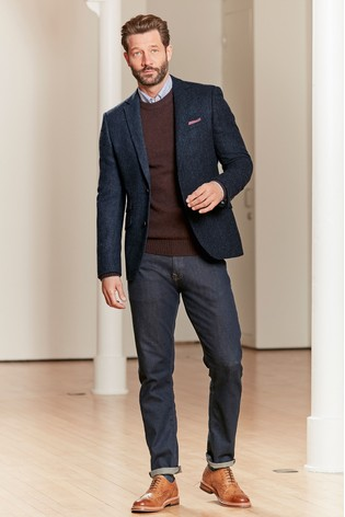 Navy Signature Donegal British Wool Blazer