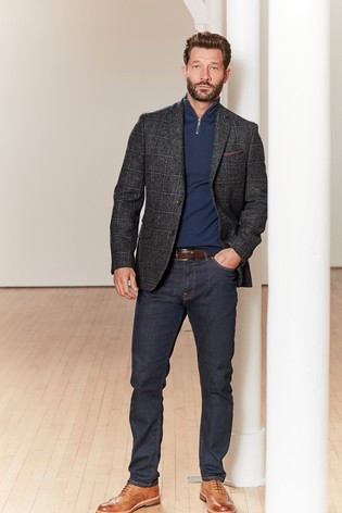 Grey Moons British Wool Signature Check Blazer