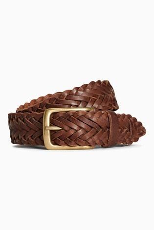 Dark Brown Weave Leather Belt