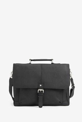 Black Signature Leather Oily Briefcase