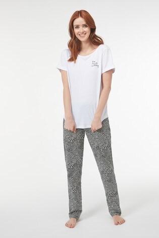 Black Heart Print Cotton Pyjamas