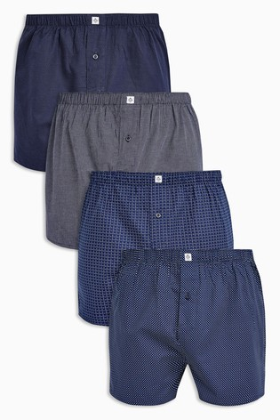 Navy Pattern Woven Boxers Pure Cotton Four Pack