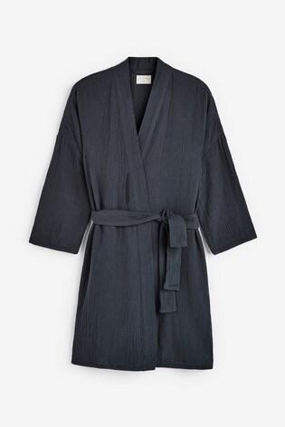 Navy Textured Cotton Robe