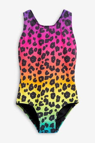 Leopard Print Sports Swimsuit (3-16yrs)