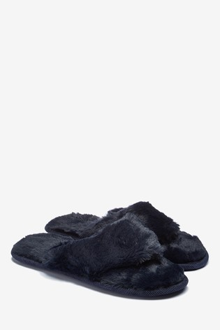 Navy Faux Fur Toe Thong Slippers