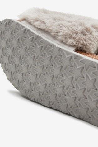 Grey Cork Faux Fur Slider Slippers