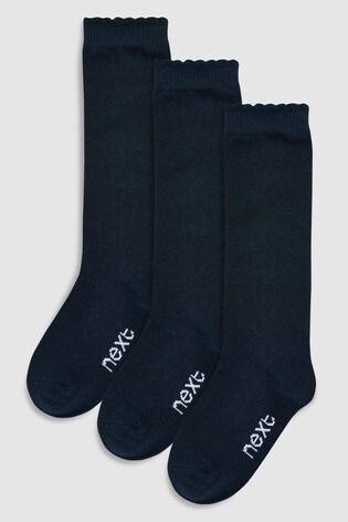 Navy 3 Pack Knee High Socks