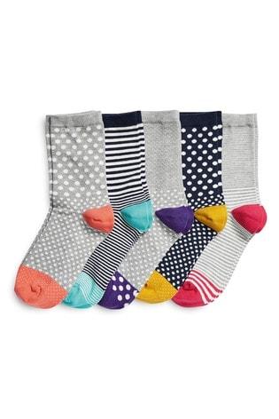 Multi Spot And Stripe Ankle Socks Five Pack