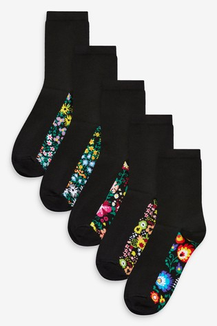 Abstract Floral Footbed Socks Five Pack