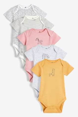 Monochrome 5 Pack Character Short Sleeve Bodysuits (0mths-3yrs)
