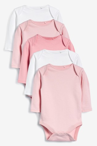 Pink/White 5 Pack GOTS Organic Cotton Long Sleeve Bodysuits (0mths-3yrs)