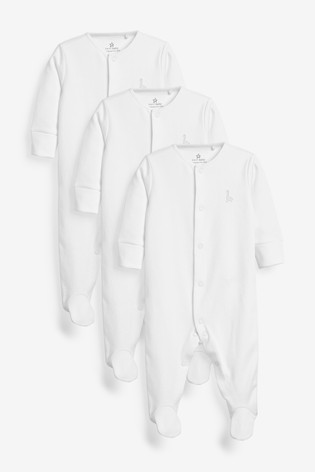 White 3 Pack GOTS Organic Cotton Sleepsuits (0-18mths)
