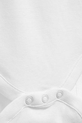 White 5 Pack GOTS Organic Cotton Long Sleeve Bodysuits (0mths-3yrs)