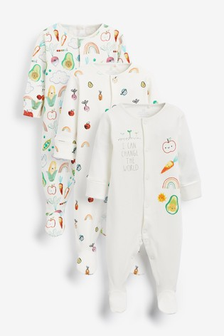Multi 3 Pack Vegetable Print Sleepsuits (0mths-2yrs)