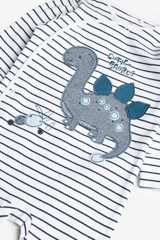 Navy 3 Pack Dinosaur Sleepsuits (0mths-2yrs)