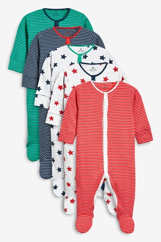 Multi 5 Pack Stripe And Star Sleepsuits (0mths-2yrs)