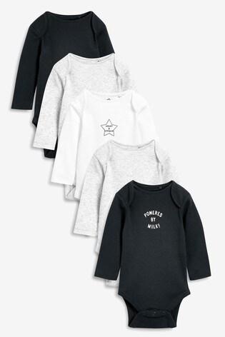 Grey/Charcoal 5 Pack Slogan Rib Long Sleeve Bodysuits (0mths-3yrs)
