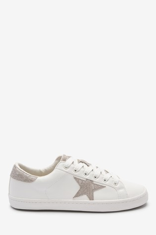 White/Silver Star Lace-Up Trainers