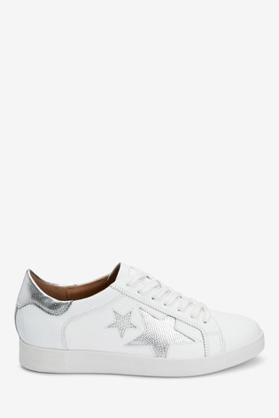 White With Silver Signature Leather Star Lace-Up Trainers
