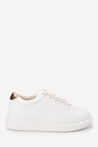 White Chunky Lace-Up Trainers