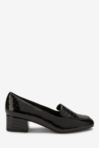 Black Low Block Loafers