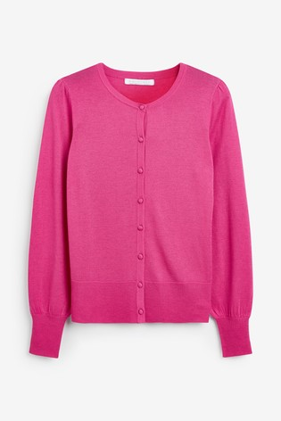 Pink Volume Sleeve Cardigan