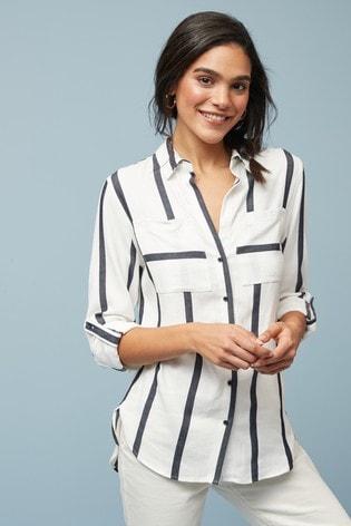 White/Navy Stripe Shirt