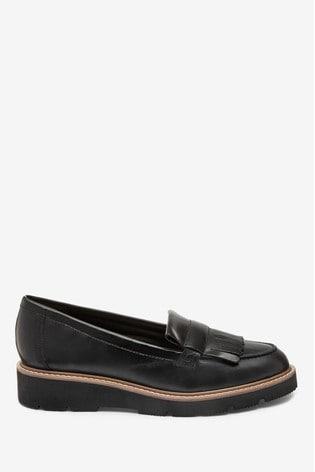 Black Forever Comfort® EVA Leather Fringe Loafers