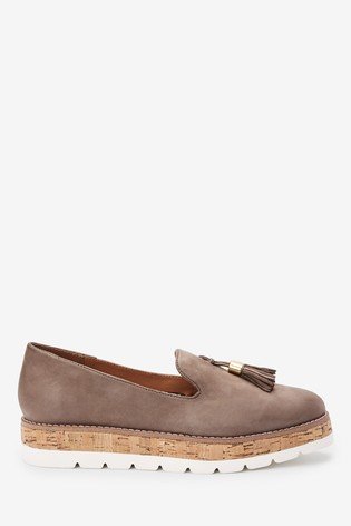 Taupe EVA Cork Leather Slipper Shoes