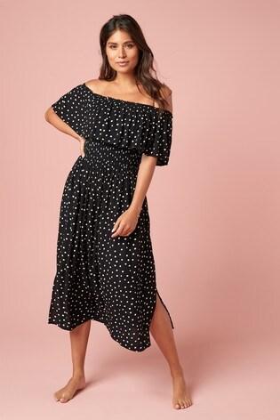 Black Spot Off The Shoulder Dress